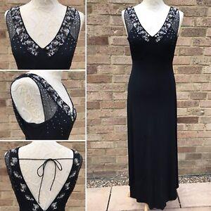Monsoon Evening Dress UK 10 Black Sequin Bead 20s Art Deco Gatsby Flapper Party