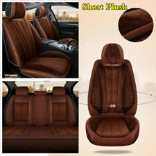 Brown Full Set Car Front Rear Seat Cover Thicken Short Plush Protector Cushions