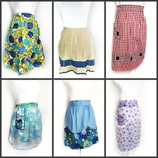 Vintage Half Apron Lot 50s 60s Handmade Crocheted Gingham Floral Sheer Retro
