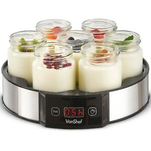VonShef Digital Yoghurt Maker Machine With 7 Glass Jars LCD Display S/S Housing