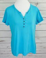 Croft & Barrow Top Womens Large L Blue Solid Henley V-Neck Short Sleeve Cotton