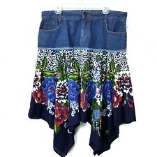 RoseBud Denim Handkerchief Denim Skirt Sz 16 (46EU) Fringed Boho Midi