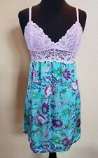 Womens JOSIE NATORI Pink Lace Floral Chemise Nightgown Size XS