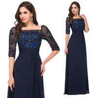 BNWT VIVIEN Vintage Navy Blue Prom Evening Cruise Ball Gown MAXI Dresses Sz 6-20