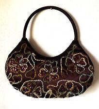 Brown Silk? PURSE Small Handbag, Fluffy Wool Flower Embroideries, Copper Sequins