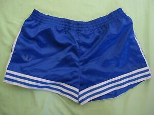 Short Adidas Ventex Bleu Vintage satin brillant Polyamide Oldschool 80'S - M