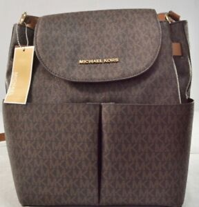 NWT Michael Kors Bedford Large Signature Backpack Vanilla