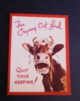 Vintage Rust Craft Greeting Card Happy Birthday Cow Quit Your Beefing Dated 1949