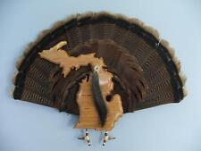 Wild Turkey Tail Fan Mount - Cherry - State of Michigan
