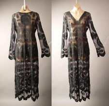 Black Embroidered Sheer Lace Victorian Goth Goddess Gown Maxi 265 mv Dress S M L