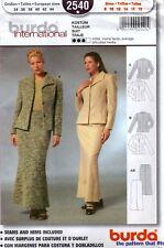 Burda International 2540 Jacket & Long Skirt Sewing Pattern Uncut Size 8 to 18