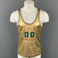 D&G by DOLCE & GABBANA Size S Gold & Beige Graphic Leather Tank Top