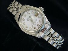 Rolex Lady Datejust Stainless Steel Watch White Mother of Pearl MOP Diamond 6916