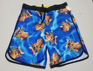 BioWorld Men's Swim Trunks - Kitty Cat with Sunglasses with a Pineapple Drink