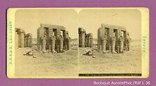 PHOTO STÉRÉO STEREOVIEW : ÉGYPTE, THÈBES, RHAMSÉION, COUR CARIATIDES, 1875 -L36
