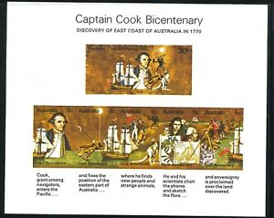 1970 Australia Mint First Stamps Mini-Sheet Captain Cook 200th Anniversary issue
