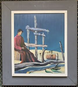 Surrealist Landscape with Figure Painting Signed and Dated 1959