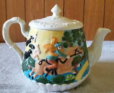 Vintage 1970s Unique Glazed Hand Painted Tea Pot