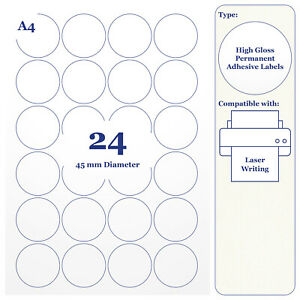 480 x High Glossy White Round Labels 45mm Circles 20 A4 Sheets for Laser Printer