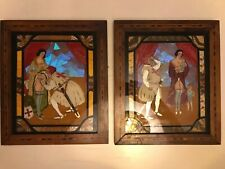 """Pair Antique Butterfly Wing Art """"Safety First"""" And """"Five years After""""."""