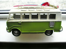 VW VOLKSWAGEN CAMPER VAN  WITH ROOF RACK AND SURF BOARDS TIN PLATE