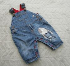 Baby Boys 100% Cotton Blue Denim Dungaree Animal Print (0-1 Month) - By Next