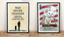 Fallout 4 Mr Pebbles Cat & War Never Changes Gift Video Game Print 76 Wall Art