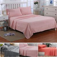 Bed Sheet Set Full Queen Size Fitted Sheet Flat Sheet Pillowcase Soft Microfiber