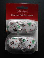 100 Mini Magdalena Cajas Hornear Muffin Torta Petits Fours Diseño de Navidad