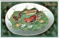 Vintage Easter Greetings Postcard 1909 Chicken Rooster Giant Egg Gilded KG