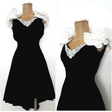 Vintage 80s Cocktail Party Ruffle Shoulders Dress Size Small Formal Velvet Prom