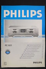 PHILIPS FC-931 Original Cassette Deck Bedienungsanleitung/Operating Instructions