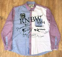 Desigual Rainbow mens Blue Purple Style 27C1216 button front shirt size 2XL