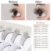 10 Pairs Black Natural Thick Long False Eyelashes Fake Eye Lashes Make Up