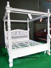 UK STOCK Super King White  Hand carved from mahogany solid wood Four Poster Bed