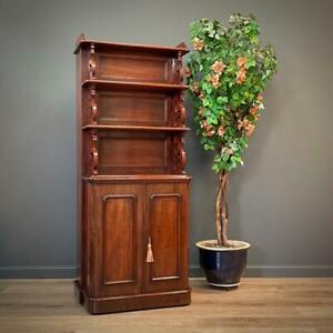 Attractive Large Antique Victorian Mahogany Table Leaf Cabinet With Shelves