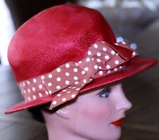 """ladies 1960 HAT MR ALMO RED STRAW POLKA DOT BAND 20"""" CIRCUMFERENCE vintage"""