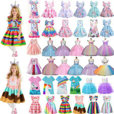 Kids Girl Casual Unicorn Princess Tutu Dress Birthday Wedding Party Dresses