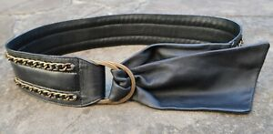 S - Wide Black Faux Leather Belt womens with chain & double D buckles