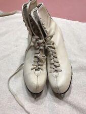 Womens Ice Figure Skates Size 8 White Rare Vintage Ships N 24h
