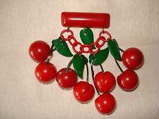 Vintage Bakelite 8 Large Red Carved Cherries Bar Pin 1940's All Original 1940's