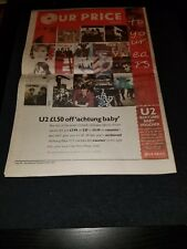 U2 Achtung Baby Rare Original Our Price Uk Promo Poster Ad Framed!