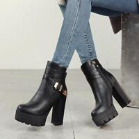 Women Fashion Platform Chunky High Heels Black Leather Zip Casual Ankle Boots