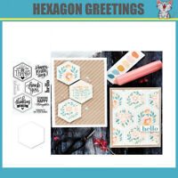 HEXAGON GREETINGS Metal Cutting Dies and Stamps stencils for DIY scrapbooking di