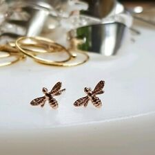 Dainty sterling silver and rose gold Bee studs