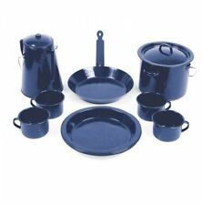 NEW CAMPFIRE ENAMEL COOK SET 11 PIECE COMPLETE CAMPING SET COOKWARE DINNER PLATE