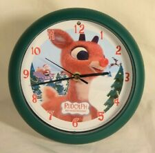 Feldstein Musical Clock Rudolph the Red Nose Reindeer Christmas Decoration Rare
