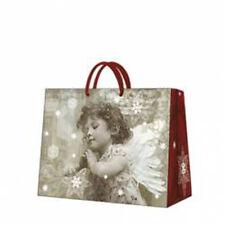Christmas Printed Paper Gift Present Bag ANGEL'S PRAYER Grey Horizontal Angel /D