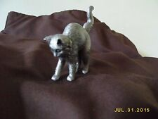 "FRANKLIN MINT CURIO CABINET CATS PEWTER COLLECTIBLE CAT, ""COLONIAL PEWTER"""