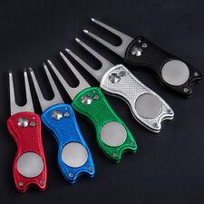 Stainless Folding Golf Divot Repair Fork Ball Marker Golf Pitch Switchblade Tool